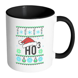 HO3 Hydrogen Trioxide Chemistry Science Funny Ugly Christmas Sweater 11oz Accent Coffee Mug (7 Colors)-Drinkware-Accent Mug - Black-JoyHip.Com