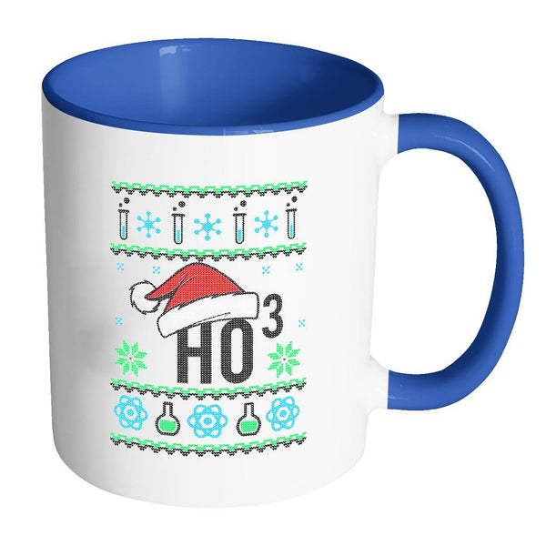 HO3 Hydrogen Trioxide Chemistry Science Funny Ugly Christmas Sweater 11oz Accent Coffee Mug (7 Colors)-Drinkware-Accent Mug - Blue-JoyHip.Com