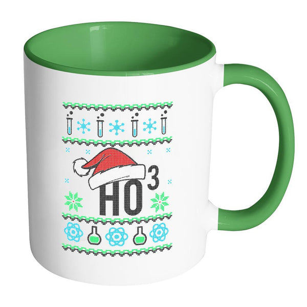 HO3 Hydrogen Trioxide Chemistry Science Funny Ugly Christmas Sweater 11oz Accent Coffee Mug (7 Colors)-Drinkware-Accent Mug - Green-JoyHip.Com