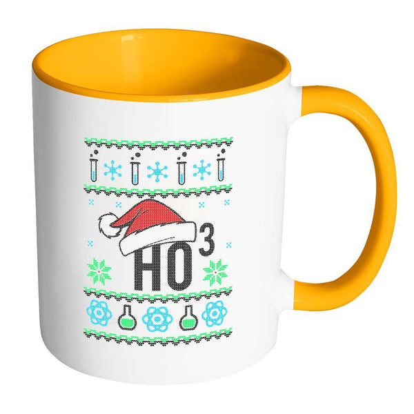 HO3 Hydrogen Trioxide Chemistry Science Funny Ugly Christmas Sweater 11oz Accent Coffee Mug (7 Colors)-Drinkware-Accent Mug - Orange-JoyHip.Com
