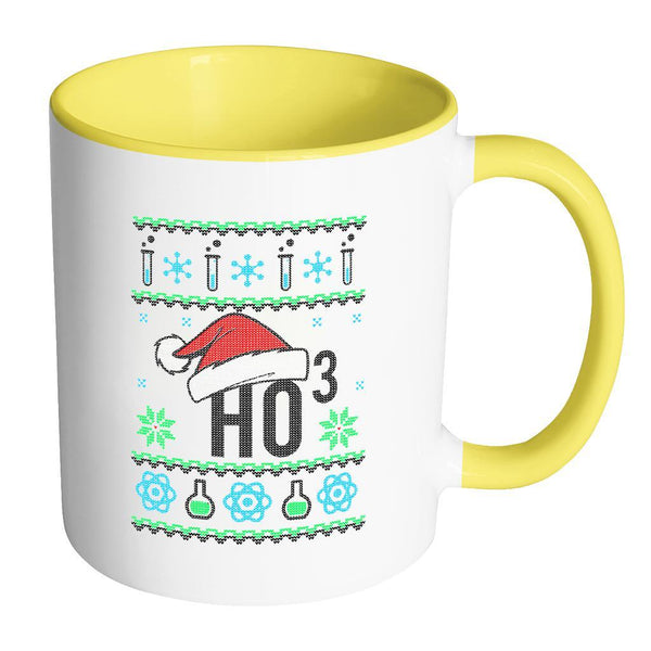 HO3 Hydrogen Trioxide Chemistry Science Funny Ugly Christmas Sweater 11oz Accent Coffee Mug (7 Colors)-Drinkware-Accent Mug - Yellow-JoyHip.Com