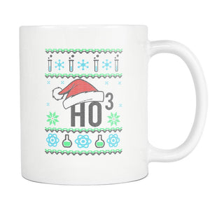 HO3 Hydrogen Trioxide Chemistry Science Funny Ugly Christmas Sweater White 11oz Coffee Mug-Drinkware-Ugly Christmas Sweater White 11oz Coffee Mug-JoyHip.Com