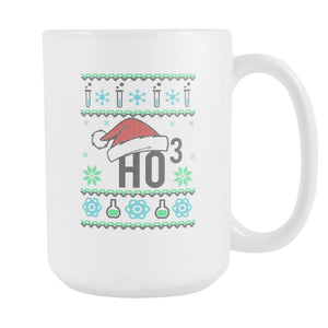 HO3 Hydrogen Trioxide Chemistry Science Funny Ugly Christmas Sweater White 15oz Coffee Mug-Drinkware-Ugly Christmas Sweater White 15oz Coffee Mug-JoyHip.Com