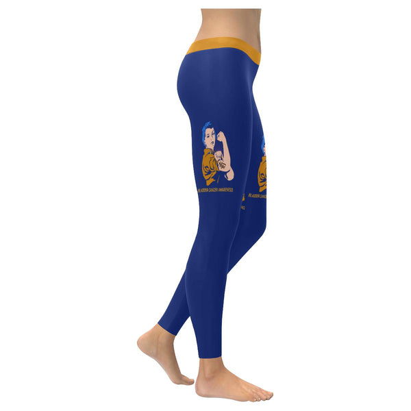 Hope Bladder Cancer Awareness Blue Yellow Purple Ribbon Soft Leggings For Women-XXS-Navy-JoyHip.Com