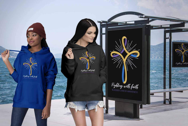 Hope Bladder Cancer Awareness Yellow Blue Purple Ribbon Awesome Gift Idea Hoodie-T-shirt-JoyHip.Com