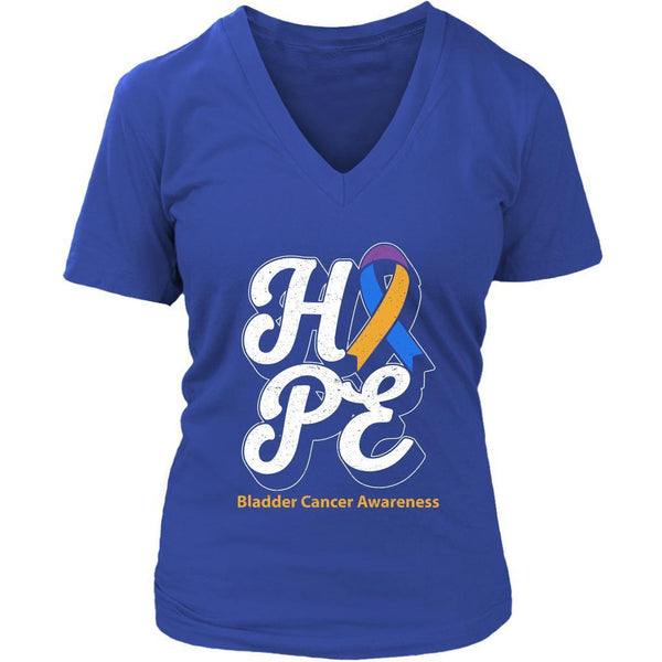 Hope Bladder Cancer Awareness Yellow Blue & Purple Ribbon Gift Idea VNeck TShirt-T-shirt-District Womens V-Neck-Royal Blue-JoyHip.Com
