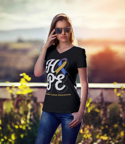 Hope Bladder Cancer Awareness Yellow Blue & Purple Ribbon Gift Idea VNeck TShirt-T-shirt-JoyHip.Com