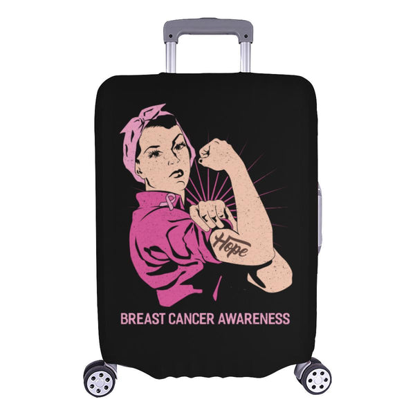 "Hope Breast Cancer Awareness Travel Luggage Cover Suitcase Protector 18""-28""-L-Black-JoyHip.Com"