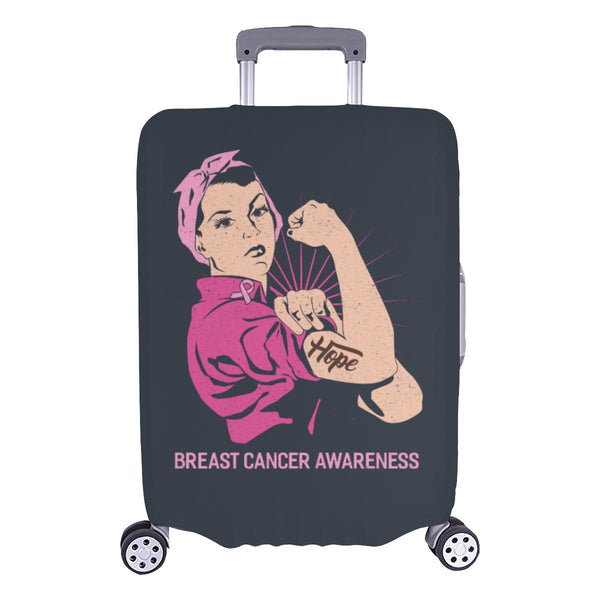 "Hope Breast Cancer Awareness Travel Luggage Cover Suitcase Protector 18""-28""-L-Grey-JoyHip.Com"