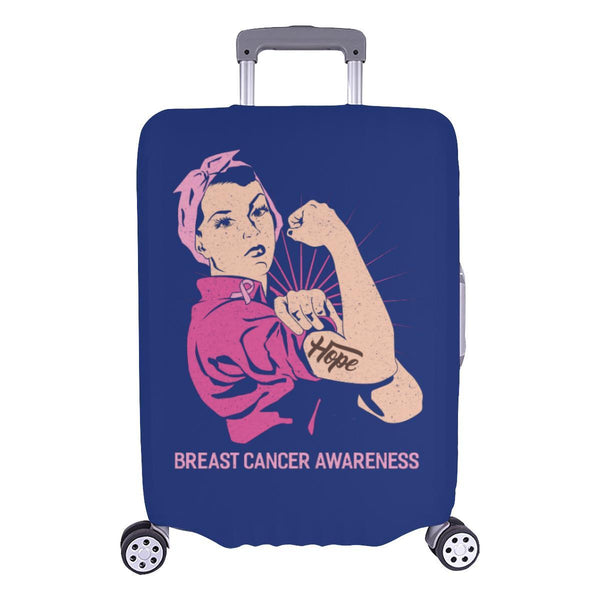 "Hope Breast Cancer Awareness Travel Luggage Cover Suitcase Protector 18""-28""-L-Navy-JoyHip.Com"