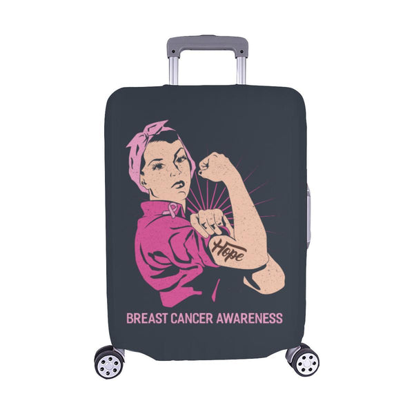 "Hope Breast Cancer Awareness Travel Luggage Cover Suitcase Protector 18""-28""-M-Grey-JoyHip.Com"