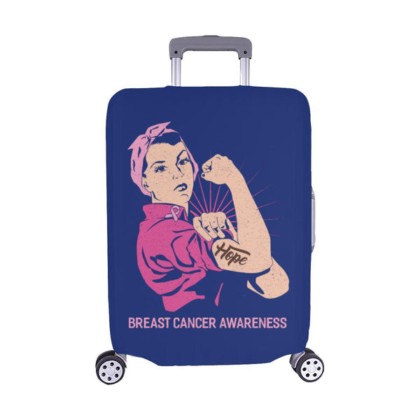 "Hope Breast Cancer Awareness Travel Luggage Cover Suitcase Protector 18""-28""-M-Navy-JoyHip.Com"