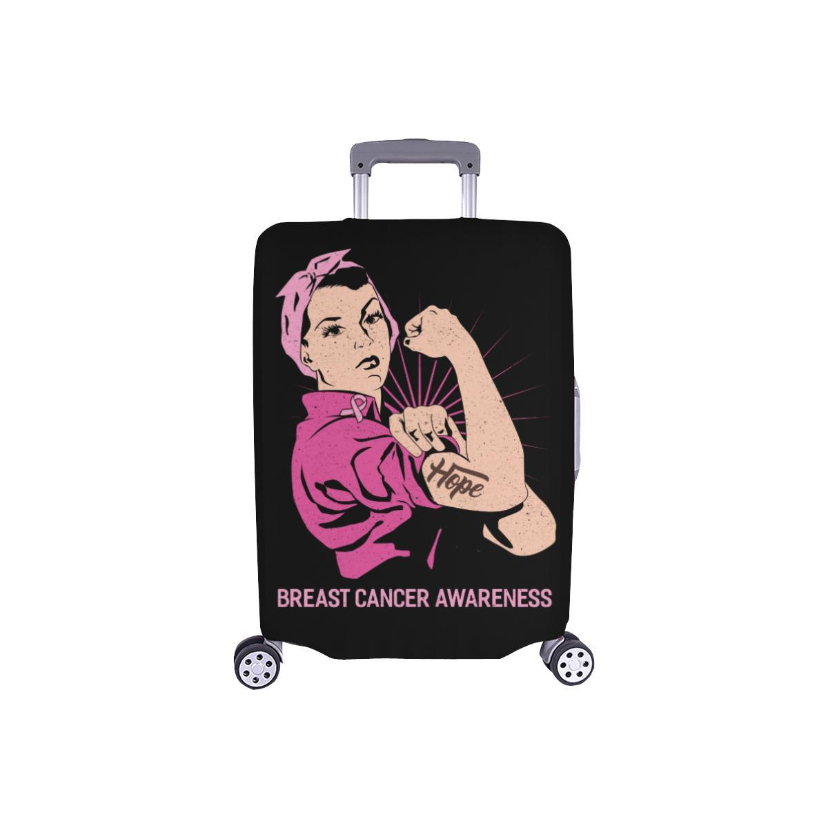 "Hope Breast Cancer Awareness Travel Luggage Cover Suitcase Protector 18""-28""-S-Black-JoyHip.Com"