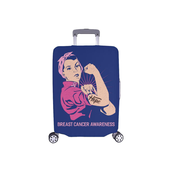 "Hope Breast Cancer Awareness Travel Luggage Cover Suitcase Protector 18""-28""-S-Navy-JoyHip.Com"