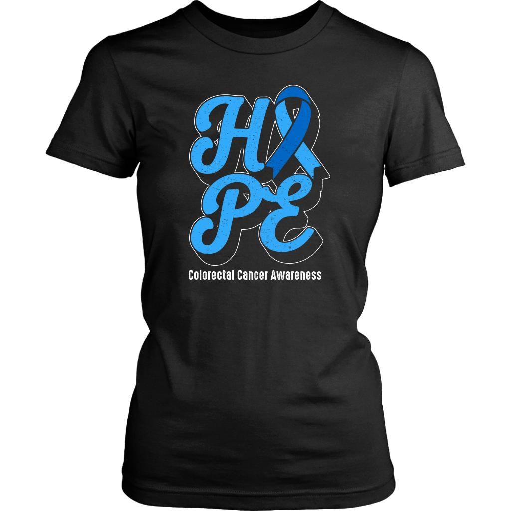 Hope Colorectal Cancer Awareness Blue Ribbon Awesome Gift Women TShirt-T-shirt-District Womens Shirt-Black-JoyHip.Com