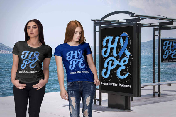 Hope Colorectal Cancer Awareness Blue Ribbon Awesome Gift Women TShirt-T-shirt-JoyHip.Com