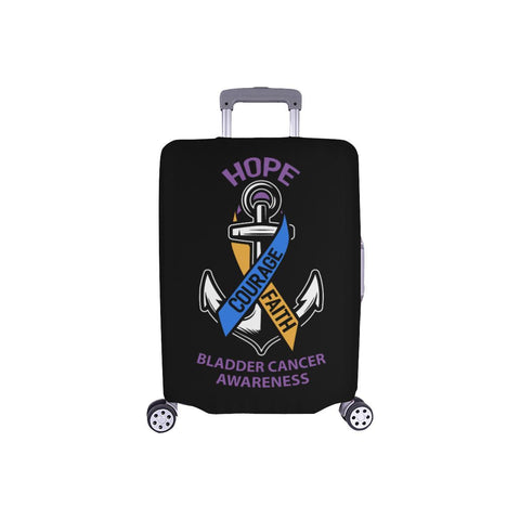 Hope Courage Faith Bladder Cancer Travel Luggage Cover Suitcase Protector-S-Black-JoyHip.Com