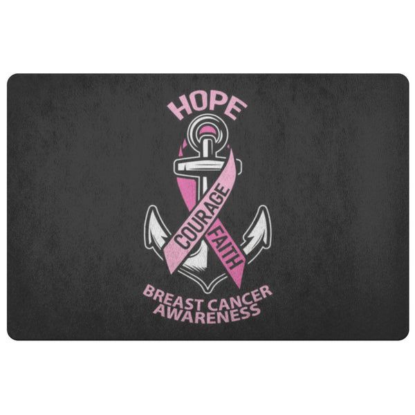 Hope Courage Faith Breast Cancer Awareness 18X26 Thin Indoor Door Mat Entry Rug-Doormat-Black-JoyHip.Com