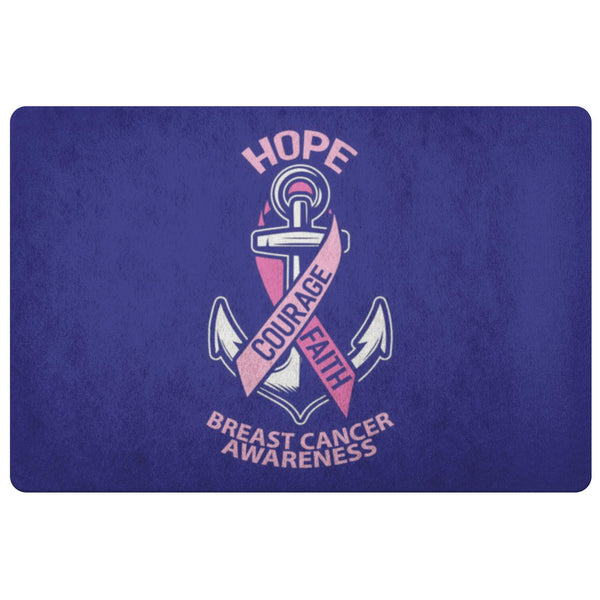 Hope Courage Faith Breast Cancer Awareness 18X26 Thin Indoor Door Mat Entry Rug-Doormat-Navy-JoyHip.Com