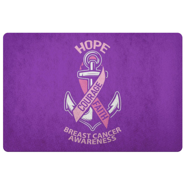 Hope Courage Faith Breast Cancer Awareness 18X26 Thin Indoor Door Mat Entry Rug-Doormat-Purple-JoyHip.Com