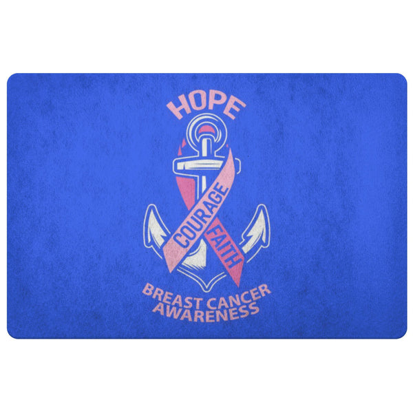 Hope Courage Faith Breast Cancer Awareness 18X26 Thin Indoor Door Mat Entry Rug-Doormat-Royal Blue-JoyHip.Com