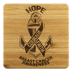 Hope Courage Faith Breast Cancer Awareness Drink Coasters Set Gifts Idea-Coasters-Bamboo Coaster - 4pc-JoyHip.Com