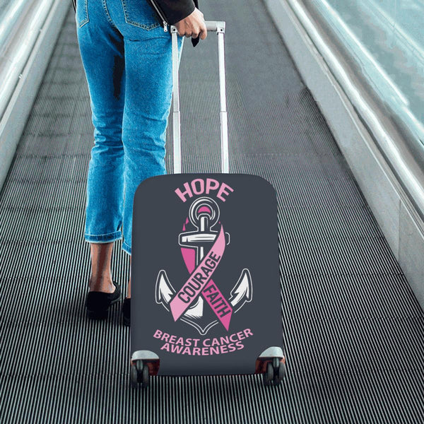 Hope Courage Faith Breast Cancer Awareness Travel Luggage Cover Suitcase Baggage-JoyHip.Com