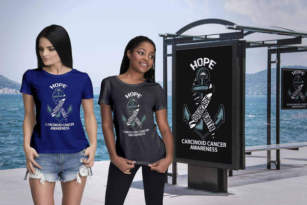 Hope Courage Faith Carcinoid Cancer Awareness Zebra Stripe Ribbon Women TShirt-T-shirt-JoyHip.Com