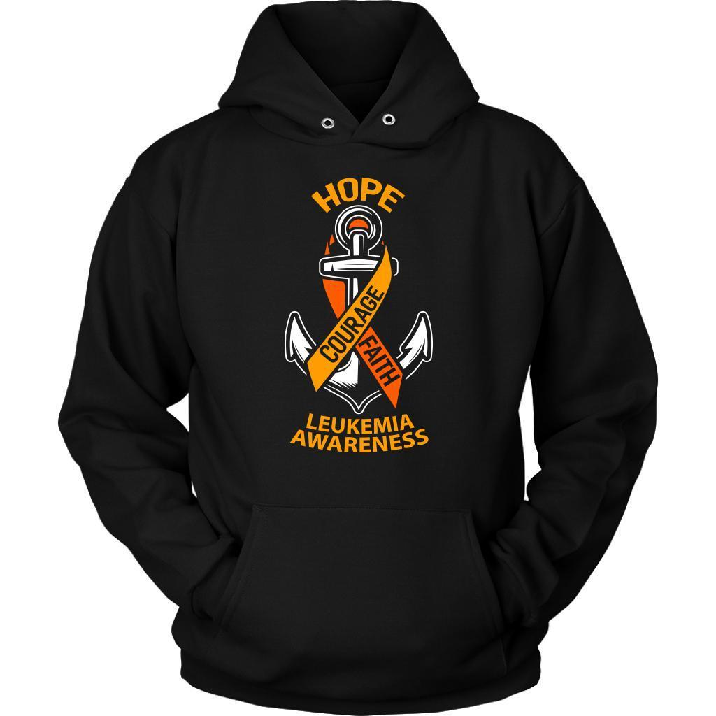 Hope Courage Faith Leukemia Awareness Orange Ribbon Awesome Hoodie-T-shirt-Unisex Hoodie-Black-JoyHip.Com