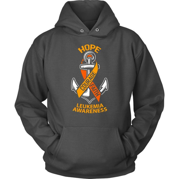 Hope Courage Faith Leukemia Awareness Orange Ribbon Awesome Hoodie-T-shirt-Unisex Hoodie-Grey-JoyHip.Com