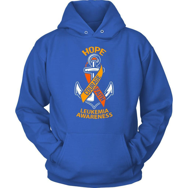 Hope Courage Faith Leukemia Awareness Orange Ribbon Awesome Hoodie-T-shirt-Unisex Hoodie-Royal Blue-JoyHip.Com
