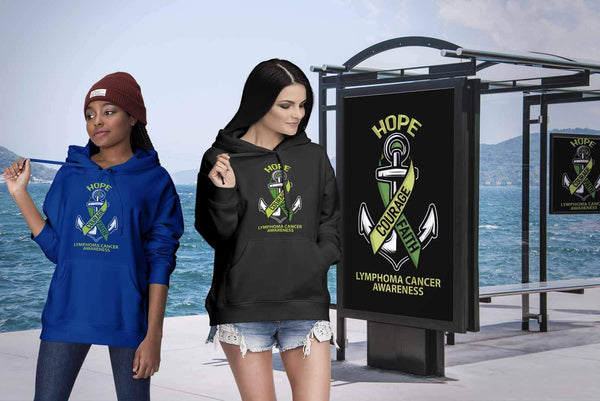 Hope Courage Faith Lymphoma Awareness Lime Green Ribbon Gift Ideas Hoodie-T-shirt-JoyHip.Com
