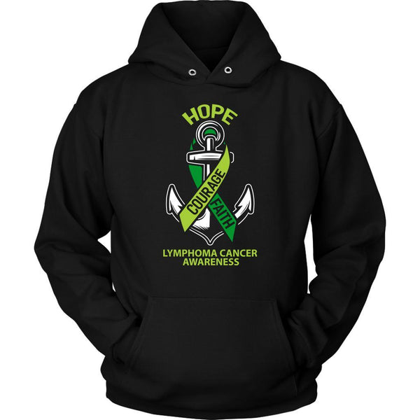 Hope Courage Faith Lymphoma Awareness Lime Green Ribbon Gift Ideas Hoodie-T-shirt-Unisex Hoodie-Black-JoyHip.Com