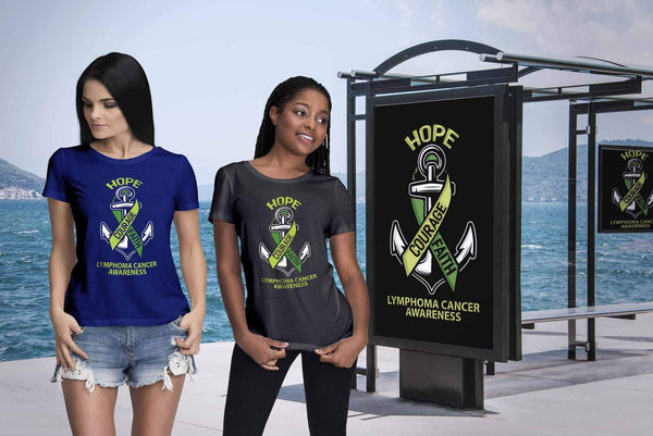 Hope Courage Faith Lymphoma Awareness Lime Green Ribbon Gift Women TShirt-T-shirt-JoyHip.Com