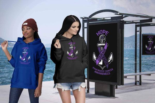 Hope Courage Faith Pancreatic Cancer Awareness Purple Ribbon Gift Ideas Hoodie-T-shirt-JoyHip.Com