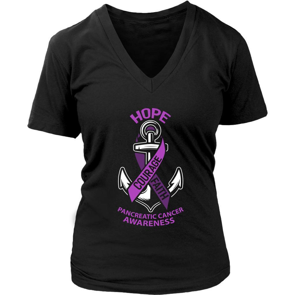 Hope Courage Faith Pancreatic Cancer Awareness Purple Ribbon Gift VNeck TShirt-T-shirt-District Womens V-Neck-Black-JoyHip.Com