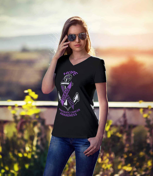 Hope Courage Faith Pancreatic Cancer Awareness Purple Ribbon Gift VNeck TShirt-T-shirt-JoyHip.Com