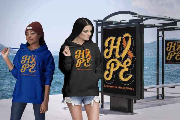 Hope Leukemia Awareness Orange Ribbon Awesome Cool Unisex Hoodie-T-shirt-JoyHip.Com