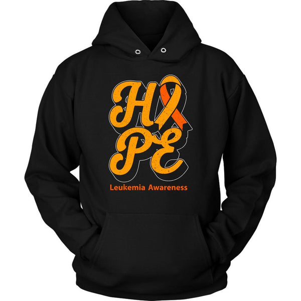 Hope Leukemia Awareness Orange Ribbon Awesome Cool Unisex Hoodie-T-shirt-Unisex Hoodie-Black-JoyHip.Com