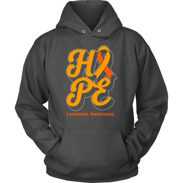 Hope Leukemia Awareness Orange Ribbon Awesome Cool Unisex Hoodie-T-shirt-Unisex Hoodie-Grey-JoyHip.Com