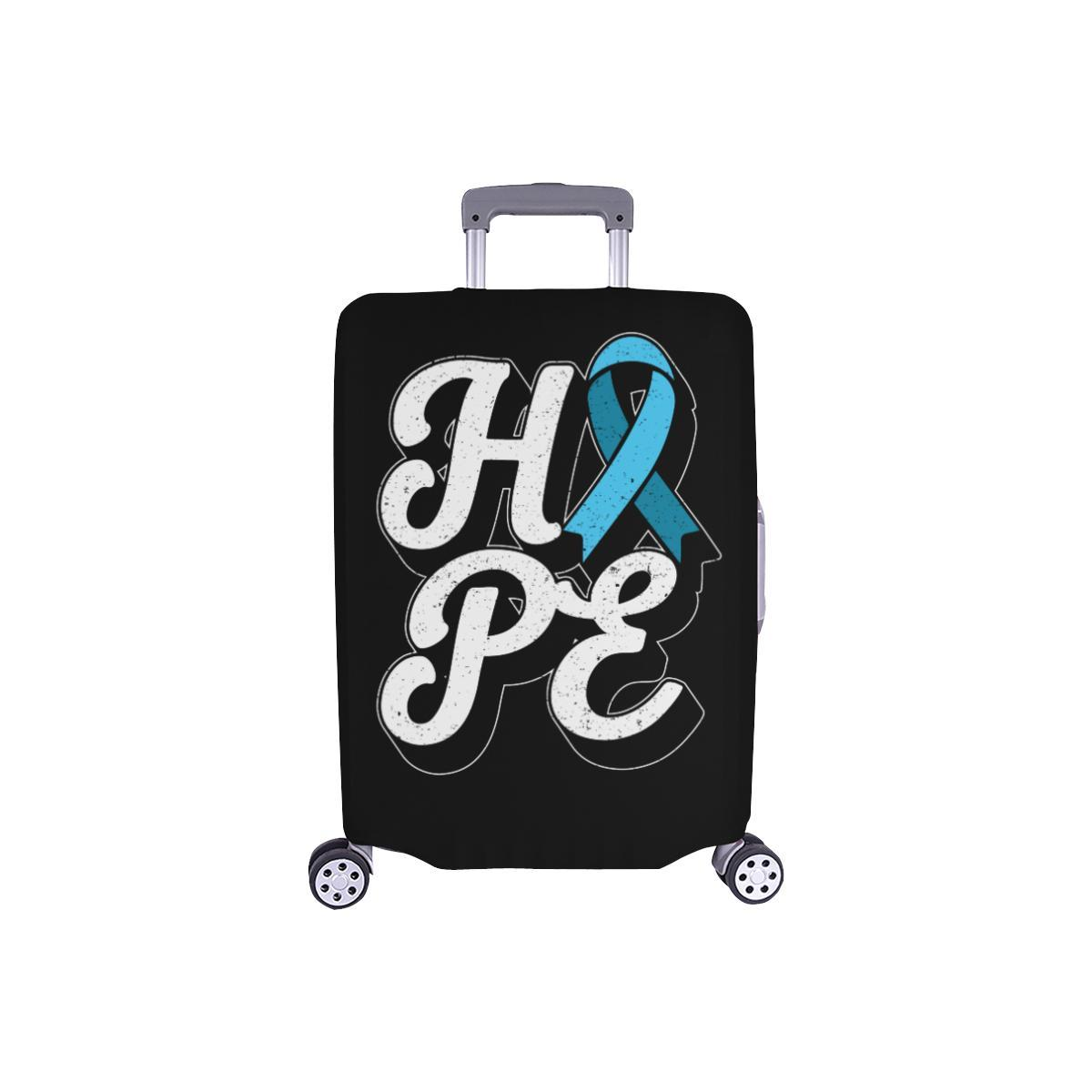 "Hope Light Blue Ribbon Travel Luggage Cover Suitcase Protector 18""-28"" Baggage-S-Black-JoyHip.Com"