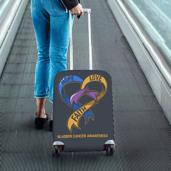 Hope Love Faith Bladder Cancer Awareness Travel Luggage Cover Suitcase Protector-JoyHip.Com