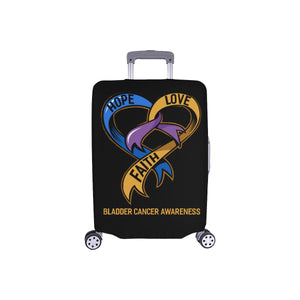 Hope Love Faith Bladder Cancer Awareness Travel Luggage Cover Suitcase Protector-S-Black-JoyHip.Com