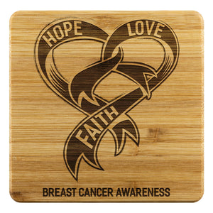 Hope Love Faith Breast Cancer Awareness Drink Coasters Set Gifts Idea-Coasters-Bamboo Coaster - 4pc-JoyHip.Com