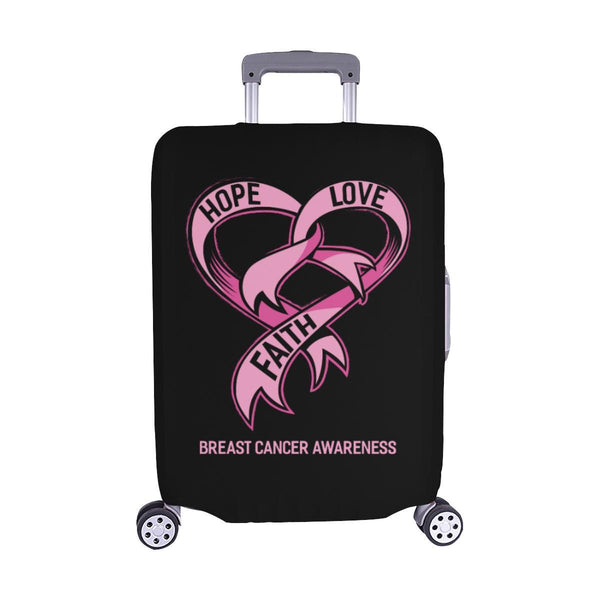Hope Love Faith Breast Cancer Awareness Travel Luggage Cover Suitcase Protector-M-Black-JoyHip.Com
