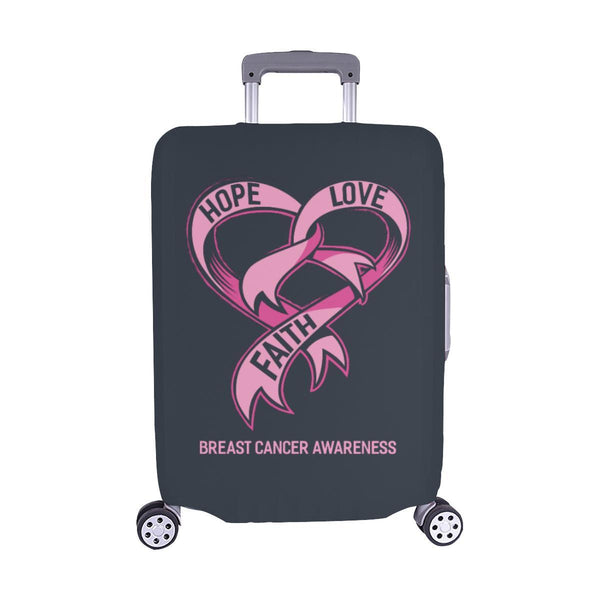 Hope Love Faith Breast Cancer Awareness Travel Luggage Cover Suitcase Protector-M-Grey-JoyHip.Com