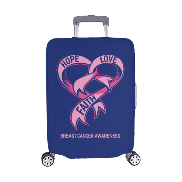 Hope Love Faith Breast Cancer Awareness Travel Luggage Cover Suitcase Protector-M-Navy-JoyHip.Com