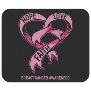 Hope Love Faith Breast Cancer Comfort Gifts For Chemo Patients Cute Mouse Pad-Mousepads-Black-JoyHip.Com