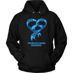 Hope Love Faith Colorectal Cancer Awareness Blue Ribbon Cool Gift Hoodie-T-shirt-Unisex Hoodie-Black-JoyHip.Com