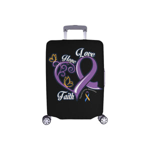 Hope Love Faith Elegant Bladder Cancer Awareness Travel Luggage Cover Suitcase-S-Black-JoyHip.Com